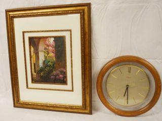Beautiful Framed Art Decor  and a Very Nice Wall Sunbeam Battery Operated Clock