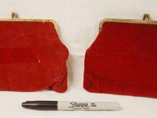 lot of 2 Vintage Hand Purses  Red Velvet  Pretty Nice