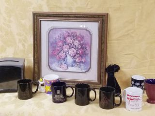 lot of Coffee Cups  Napkin Holder  and Beautiful Flower Wall Hanging Picture  Julid Crainer