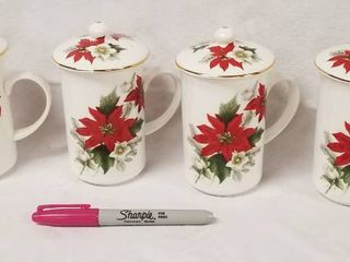 lot of 4 Poinsettia Christmas Tea Cups  w lids   St  George  Fine Bone China  Made in England