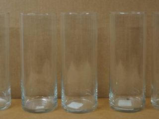 lot of 5 Clear Glass Vases   9  Tall  3  Dia    Great for Weddings  Parties  etc
