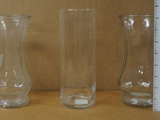 lot of 3 Glass Vases   approx  2 are 8  tall x 4  Dia    Great for B day Parties  Weddings  Decor  and More