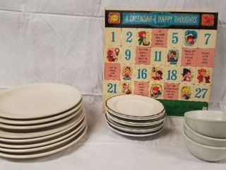 lot of Plates  Bowls and Saucers  and a 78 Vinyl Record  A Calendar of Happy Thought