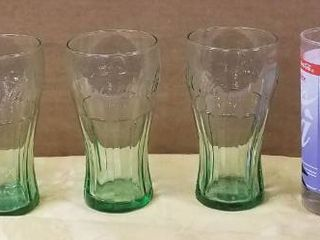 lot of Coca Cola Collectible Glass  and 2 Heavy Duty Drinking Glasses