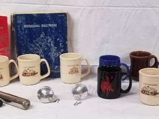 lot of Coffee Cups  2  Are Marlboro Collections  and 2 Books   Power Plant and General and Dog Clippers  Comb and More
