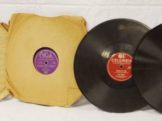 lot of 4 Vintage 78 rpm Records  Decca  OKeh  Columbia  and Columbia  See Photos