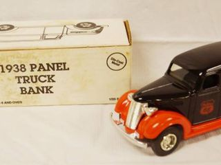 Collectible Phillips 66   Philgas Service  1938 Panel Truck Bank w  locking Key and Original Box  Die Cast Metal