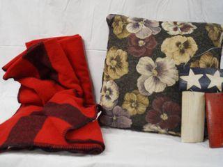 Soft Red   Black Striped Blanket  Flowered Decr  Pillow  Wood Craft Wall Hanger