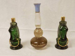 Vintage Avon 2 Electric Pre Shave lotion 4fl oz  and Avon Blue lotus Collectible Bottles