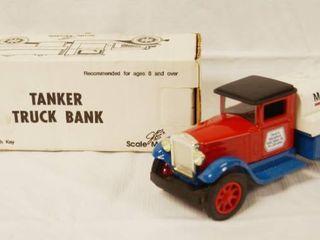 Collectible  1  Marathon SUPER   M  Tanker Truck Bank  Die Cast Metal  locking Coin Bank w  Key