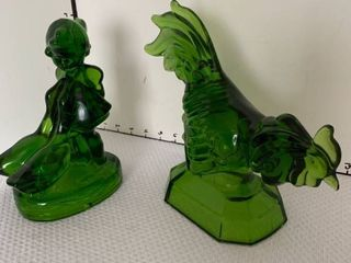 Green glass statues