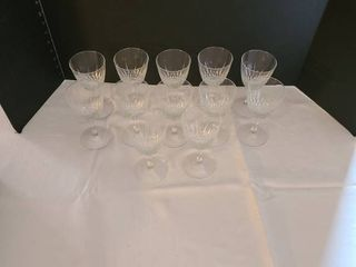 Twelve wine glasses