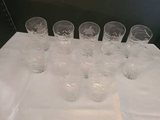Twelve glasses  one has chip on rim