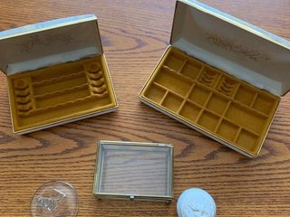 Assorted jewelry boxes and holders