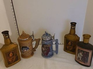 Steins and liquor bottles