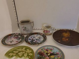 Decorative plates  vase and creamer