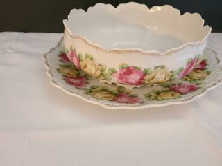 Matching floral platter and bowl