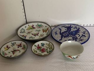 Decorative plate and bowls