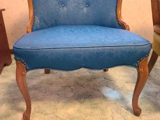 Chair  blue vinyl upholstered