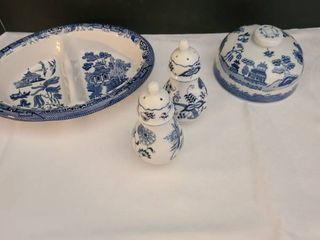 Blue Danube salt and pepper shakers  Blue Willow Churchill divided serving dish and a random lid