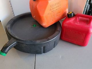 Gas cans and oil pan