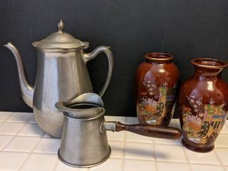 Pewter tea pitcher with creamer and vases