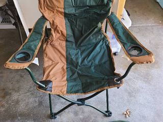 Folding lawn chair with case  hunter green and khaki
