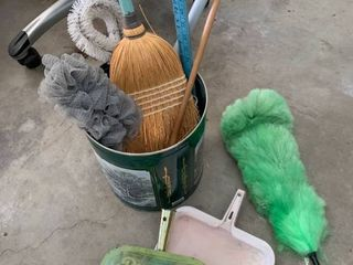 Broom  mop   dust pans and dusters