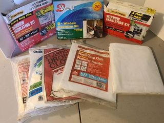 Window insulation kits and plastic drop cloths