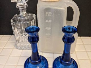 Decanter  and candle holders