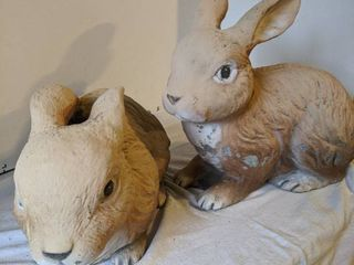 Concrete bunnies 10 inches tall