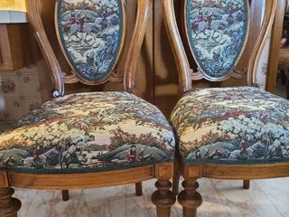 Two tapestry covered chairs