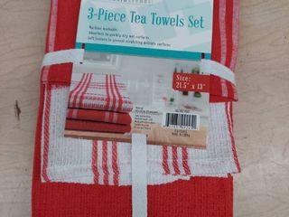 3 Piece Tea Towel Set   Red