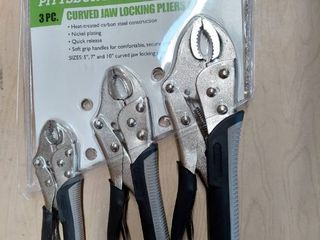 Pittsburgh 3 Pc Curved Jaw locking Pliers Set