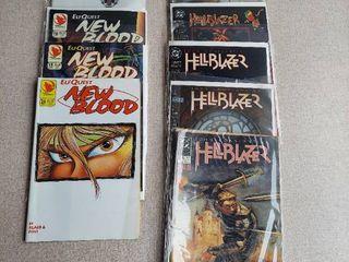 10 Comic Books  New Blood and Hellblazer   Includes Hellblazer No 1