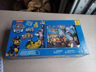 Paw Patrol Mega Bundle 5 Games Set Toy Kids Puzzle Dominoes Jumbo Cards Wood Sound Puzzle