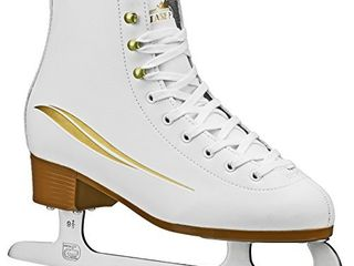 lake Placid Cascade Women s Figure Ice Skate  White Gold Accent  Size 6