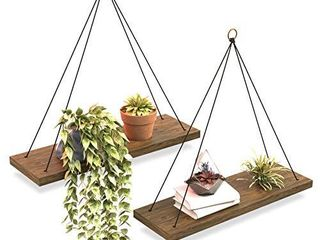 OMYSA Hanging Shelves for Wall   Window Plant Shelf Indoor   Floating Wall Shelves for Bedroom Bathroom living Room   Macrame Wall Hanging Shelf   Boho Wall Decor   Triangle Rope Rustic Wood Shelving