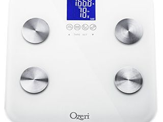 Ozeri Touch 440 lbs Total Body Bath Scale a Measures Weight  Fat  Muscle  Bone   Hydration with Auto Recognition and Infant Tare Technology