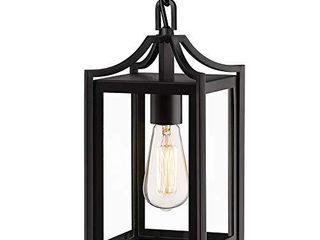 Osimir Outdoor Pendant light  14  large Modern Outdoor Hanging Porch light with Adjustable Chain  Exterior Outdoor Hanging light in Black Finish and Clear Glass  2439 1H