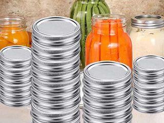 24 Jar lids   24 Jar Rings  Regular Mouth Canning lids for Ball  Kerr Jars  leak Proof Mason Jar lids for Canning  Split Type lids Include Band