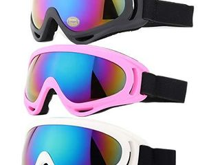 Ski Goggles  Yidomto Pack of 3 Snowboard Goggles for Kids Boys Girls Youth  Mens Womens with UV Protection Windproof Anti Glare Black Pink White