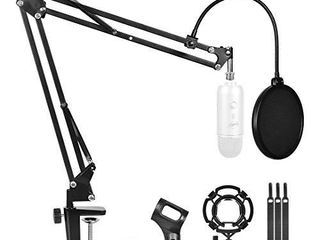 Desktop Microphone Arm Stand for Blue Yeti Snowball Ice Suspension Boom Scissor with Mic Filter  Mic Clip Shock Mount  Adjustable Mic Boom Scissor Arm Stands Radio Broadcasting and Recording