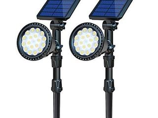 OSORD Solar lights Outdoor  Upgraded Waterproof 18lED 2 in 1 Solar landscape Spotlights Wall light Adjustable Auto On Off Solar Powered landscape lighting for Garden Driveway Walkway Pool  Cool White