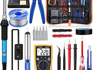 Soldering Iron Kit with ON OFF Switch  Rarlight 60W 110V Adjustable Temperature Welding Tool with Digital Multimeter Soldering Tips Desoldering Pump Solder Wire Tweezers Stand Wire Stripper Cut Blue