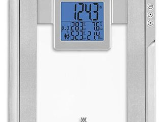 WW Scales by Conair Body Analysis Glass Bathroom Scale Measures Body Fat  Body Water  Bonemass   BMI  4 User Memory  Measures up to 400 lbs  Glass with Silver Accents   3 8  Blue Backlight lCD Screen