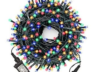 XUNXMAS Christmas String lights Outdoor Indoor  106ft 300 lED Colorful Christmas Tree lights with 8 lighting Modes  Extendable Ul Certified Waterproof Fairy lights for Patio Christmas Party Decor