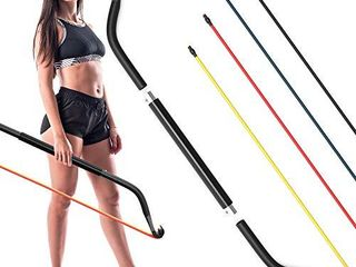 Synergee Resistance Bow  Portable Home Gym with Resistance Bands and Bar System  Collapsible Resistance Bar with Handles  Full Body Workouts for Home  Travel or Outdoors
