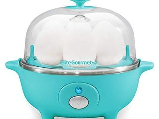 Elite Cuisine EGC 007T Easy Electric Egg Poacher  Omelet   Soft  Medium  Hard Boiled Egg Cooker with Auto Shut off and Buzzer  7 Egg Capacity  Teal