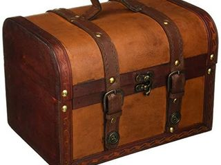 Trademark Innovations 10  Wood and leather Decorative Chest